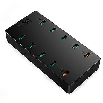 AUKEY Quick Charge 3.0 Cargador Móvil 70W 10 USB Puertos para Samsung Galaxy S8, Nexus 6, LG G5, HTC, iPhone, iPad Pro/iPad Air y más