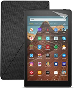 Fire HD 10 Tablet (32 GB, Black, With Special Offers) + Amazon Standing Case (Charcoal Black) + Nupro Screen Protector (2-pack)
