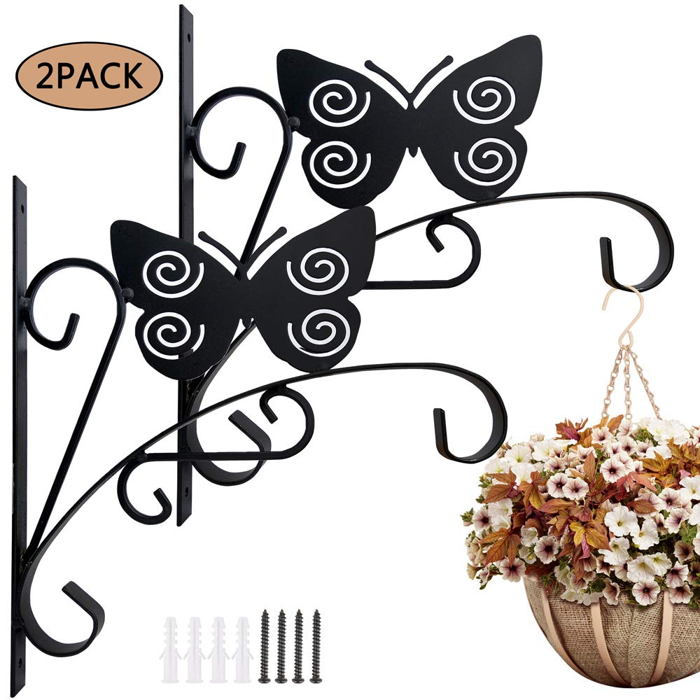 Colwelt 2 Piece 11'' Hanging Plant Bracket, More Stable Wall Planter Hanger Hooks for Feeders, Lanterns, Planters, Outdoor Decorative Flower Pot Bird Feeder Hanger (Butterfly)