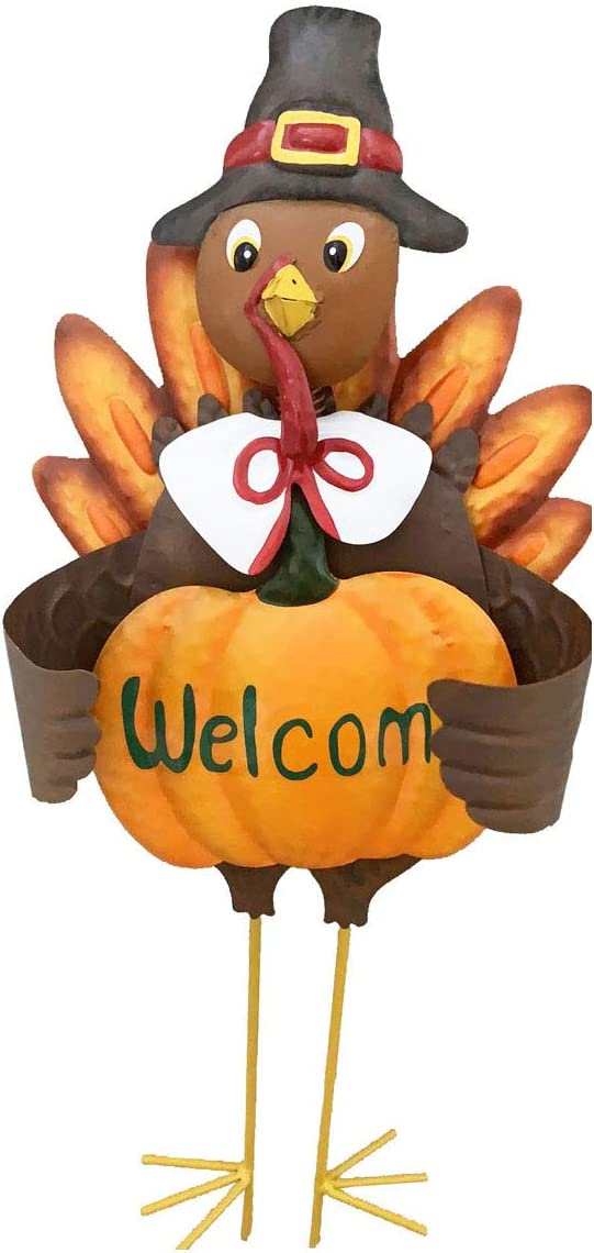 YUMBOR Fall Harvest Metal Pumpkin Welcome with Turkey Stake Yard Sign 23''H, Home Garden Patio Lawn Yard Stake Fall Harvest Thanksgiving Outdoor Décoration