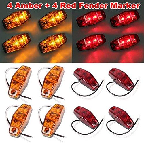 Partsam 8 Universal 2 Diode Red/Amber Surface Mount LED Side Fender Marker Light (Led Side Fender Mount)