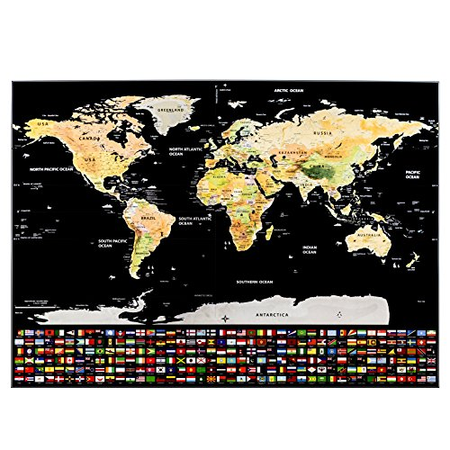 Nomad Maps Scratch Off World Map Poster- Detailed with U.S. States and Includes all Country Flags, comes with Scratch Off Accessories, Large Sized Poster, Travel Tracker Photo #9