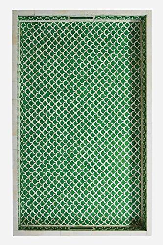 Bone Inlaid Tray in Fish Scale Design (Green)