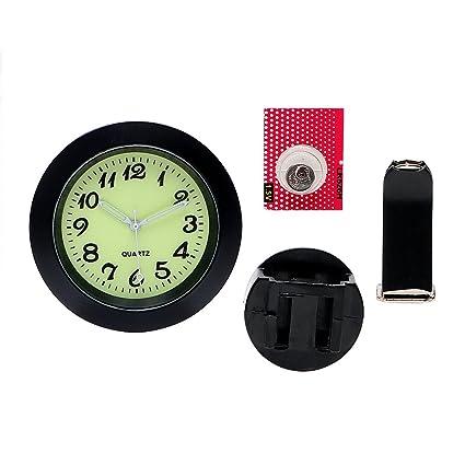 Reloj digital luminoso con clip de ventilación para el interior del coche, color negro