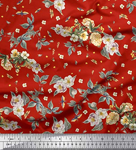 Soimoi Red Poly Crepe Fabric Leaves,Moth & Magnolia Floral Print Fabric by The Yard 42 Inch Wide