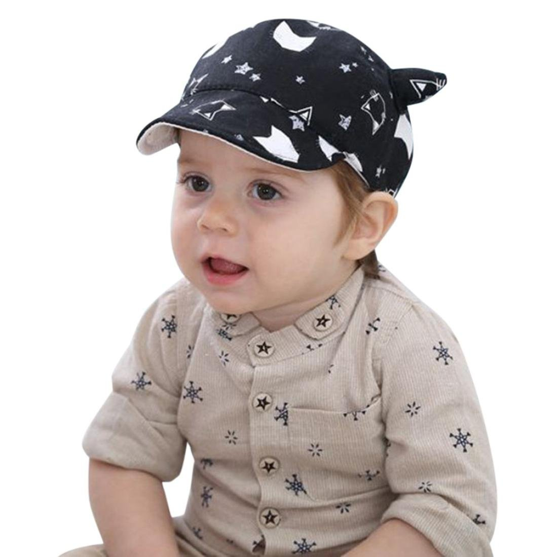 Elevin(TM) Toddler Hat Baby Boy Girl Kid Newborn Winter Warm Baseball Cap Beanie (B Black)