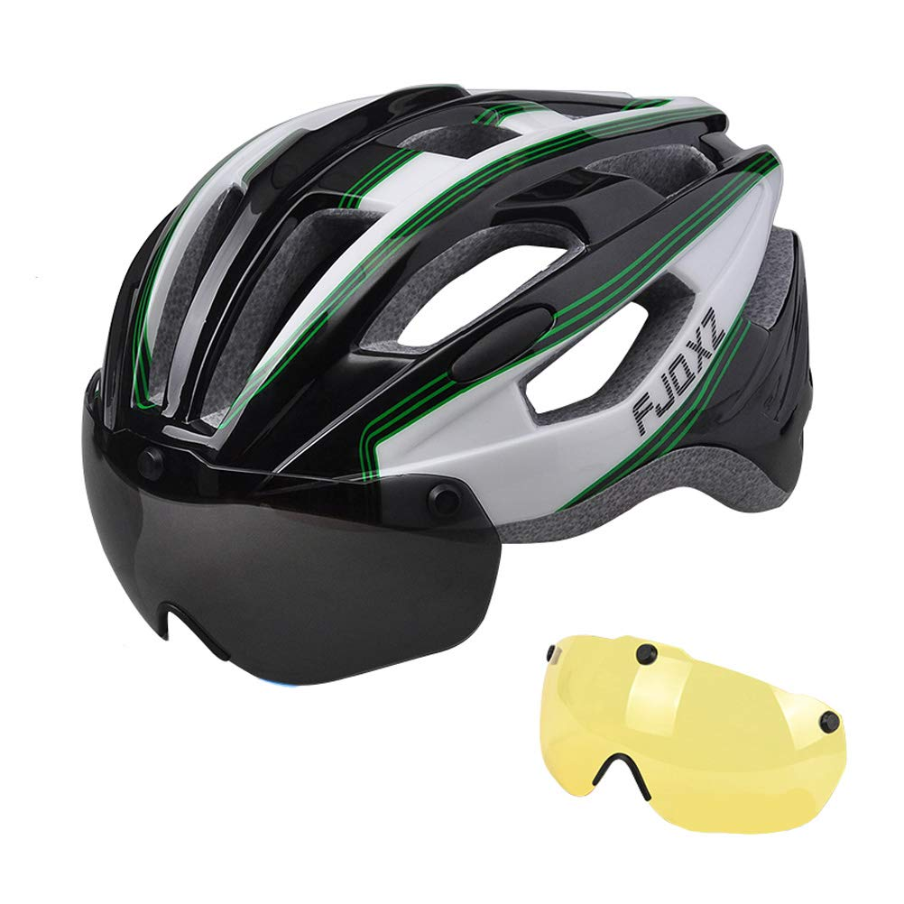 B   Bicycle Helmet with Goggles Integrated Mountain Road Safety Hat Men and Women Riding Equipment, Magnetic Goggles