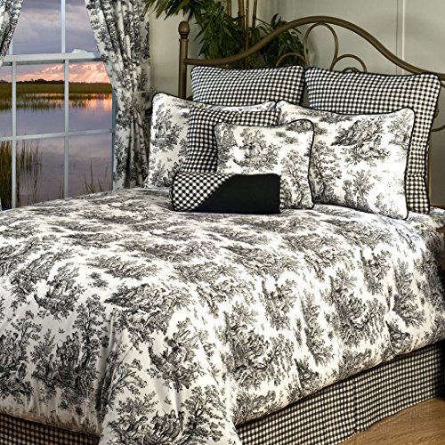 VICTOR MILL Plymouth California King 10-piece Comforter Set - Black And White Toile Bedding