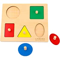 Baoblaze Square Board Wooden Montessori Geometry Blocks Shapes Sorting Peg Puzzle Jigsaw Baby Early Learning Toy Gift