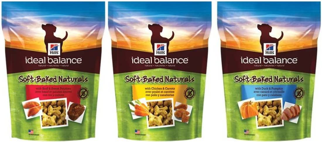 Hill s Ideal Balance Soft-Baked Naturals Adult Dog Treat 3 Flavor Variety Bundle 1 Soft-Baked Naturals With Beef Sweet Potatoes, 1 Soft-Baked Naturals With Chicken Carrots, and 1 Soft-Baked Naturals With Duck Pumpkin, 8 Oz. Ea. 3 Bogs Total