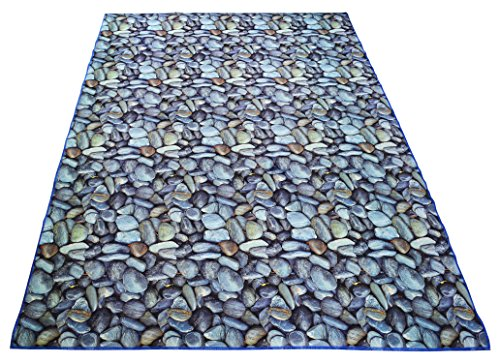 (Nature Inspired Printed Area Rug Slip Resistant TPR Rubber Back Exotic Patterns (Stones Grey Blue, 4'11