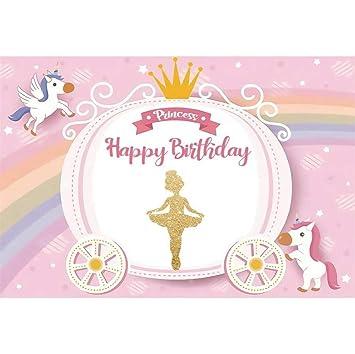 OERJU 3x2m Feliz cumpleaños Fondo Unicornio Coche De ...