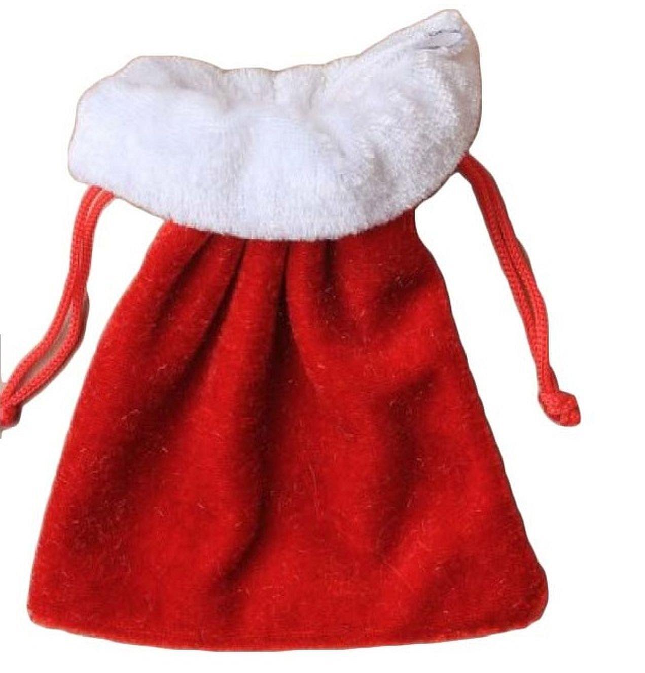 ALANNAHS ACCESSORIES 5/3/2 Pack Christmas Xmas Red Velvet Santa Sack Drawstring & Stocking Gift Bag 3 Sizes