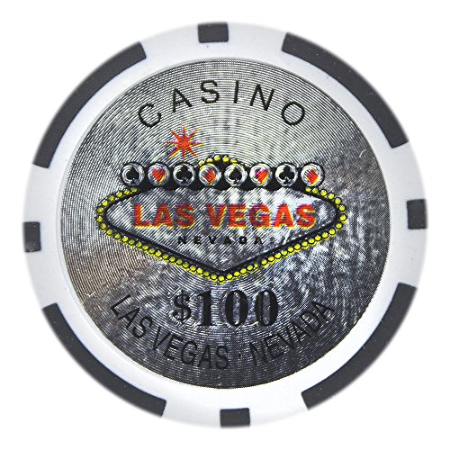 Brybelly Las Vegas Casino Poker Chip Heavyweight 14-gram Clay Composite - Pack of 50 ($100 Black)