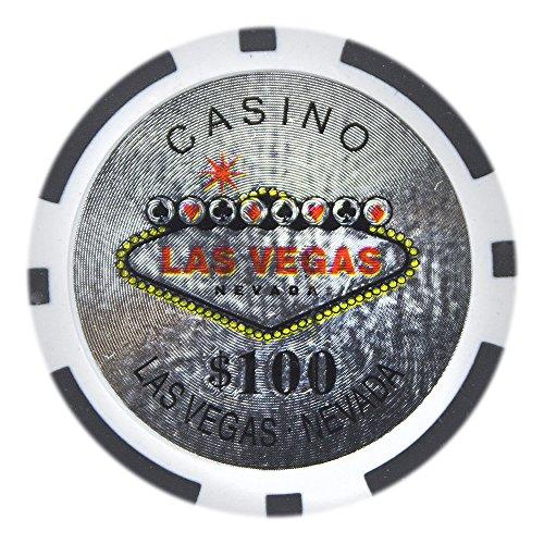 Brybelly Las Vegas Casino Poker Chip Heavyweight 14-gram Clay Composite - Pack of 50 ($100 Black) ()