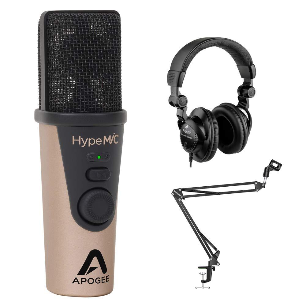 Apogee Electronics HypeMiC Micrófono de condensador cardioide USB con Polsen HPC-A30 Studio Auriculares y micrófono Boom