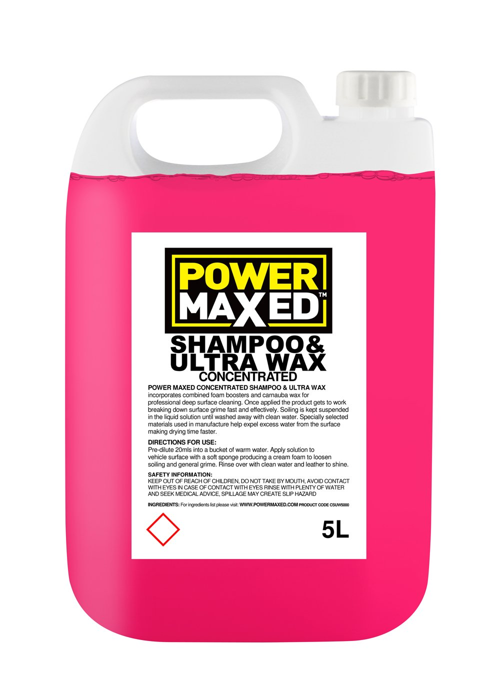 Power Maxed CSUW5000 Concentrate Car Wash Shampoo and Wax, 5 Liters