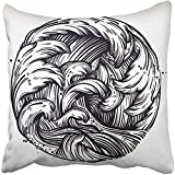 Staroutah Throw Pillow Cover 18''X18'' Decorative Polyester Water Waves In The Sea Line Drawing Boho Tattoo Travel Adventure Meditation Symbol Pillowcase Print Two Sides Deco Home