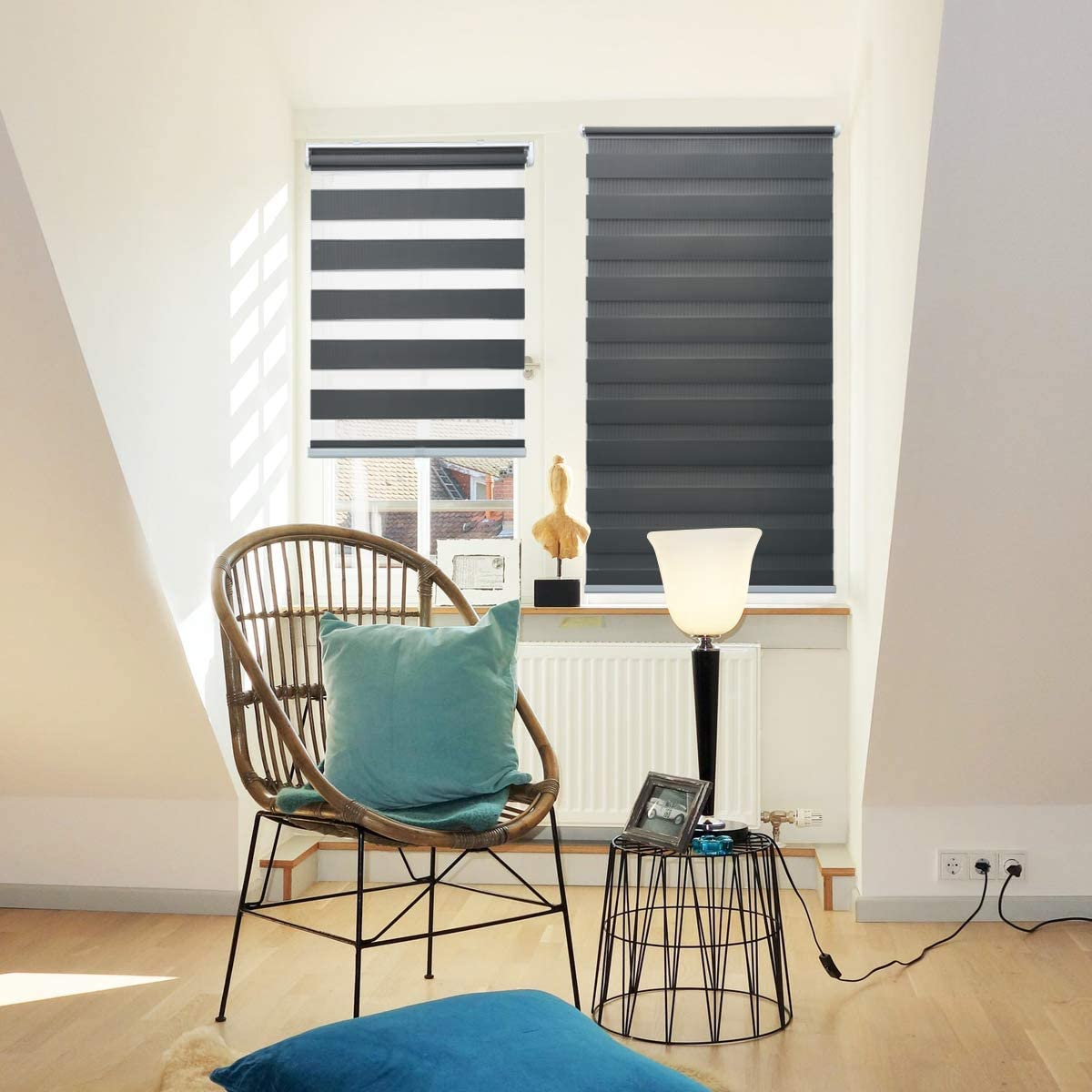 Zebra Shades Privacy Sheer Blinds Cordless Light Control Dual Layer Light Filtering Blind Easy to Pull for Home Bedroom and Office, Grey , 29