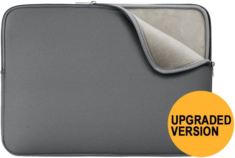 "RAINYEAR 14 Inch Laptop Sleeve Protective Case Soft Lining Padded Zipper Cover Carrying Bag Compatible with 14"" Notebook Computer Tablet Ultrabook Chromebook (Gray,Upgraded Version)"