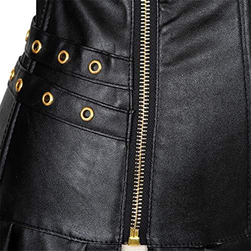 ca7e586805a Kranchungel Women s Punk Rock Faux Leather Corset Retro Goth Waist Cincher  Basque Bustier