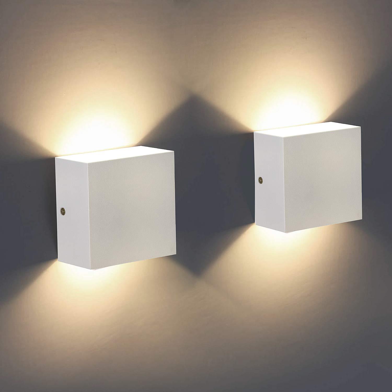 Energieklasse A++ 2 St/ücke Wandleuchten 7W leuchtet auf und ab moderne Wandleuchte f/ür Wohnzimmer Badezimmer Schlafzimmer Warm Wei/ßes LED Wandleuchte Innen