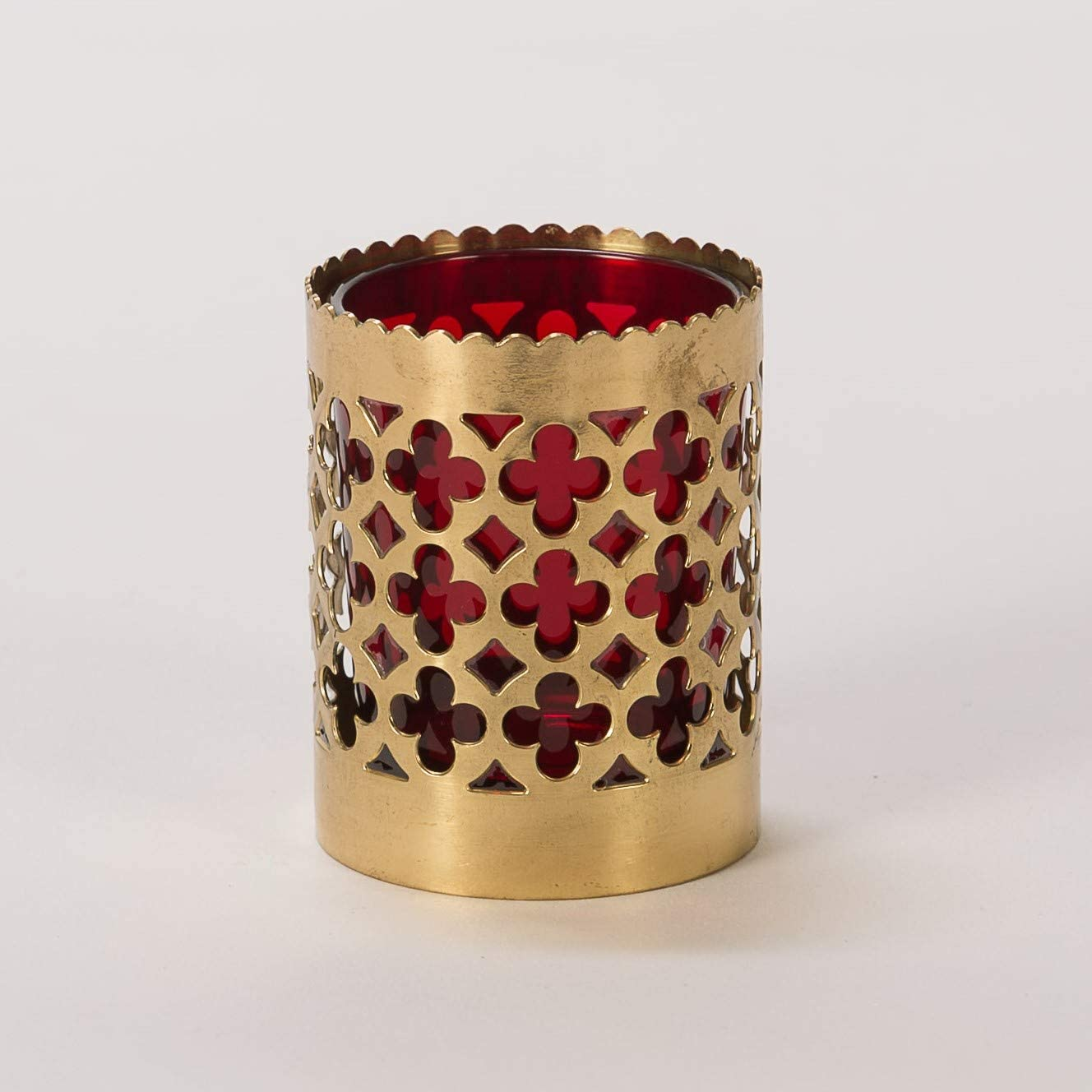 Large Red Carved Ceramic Unitarian Universalist Chalice for Candles