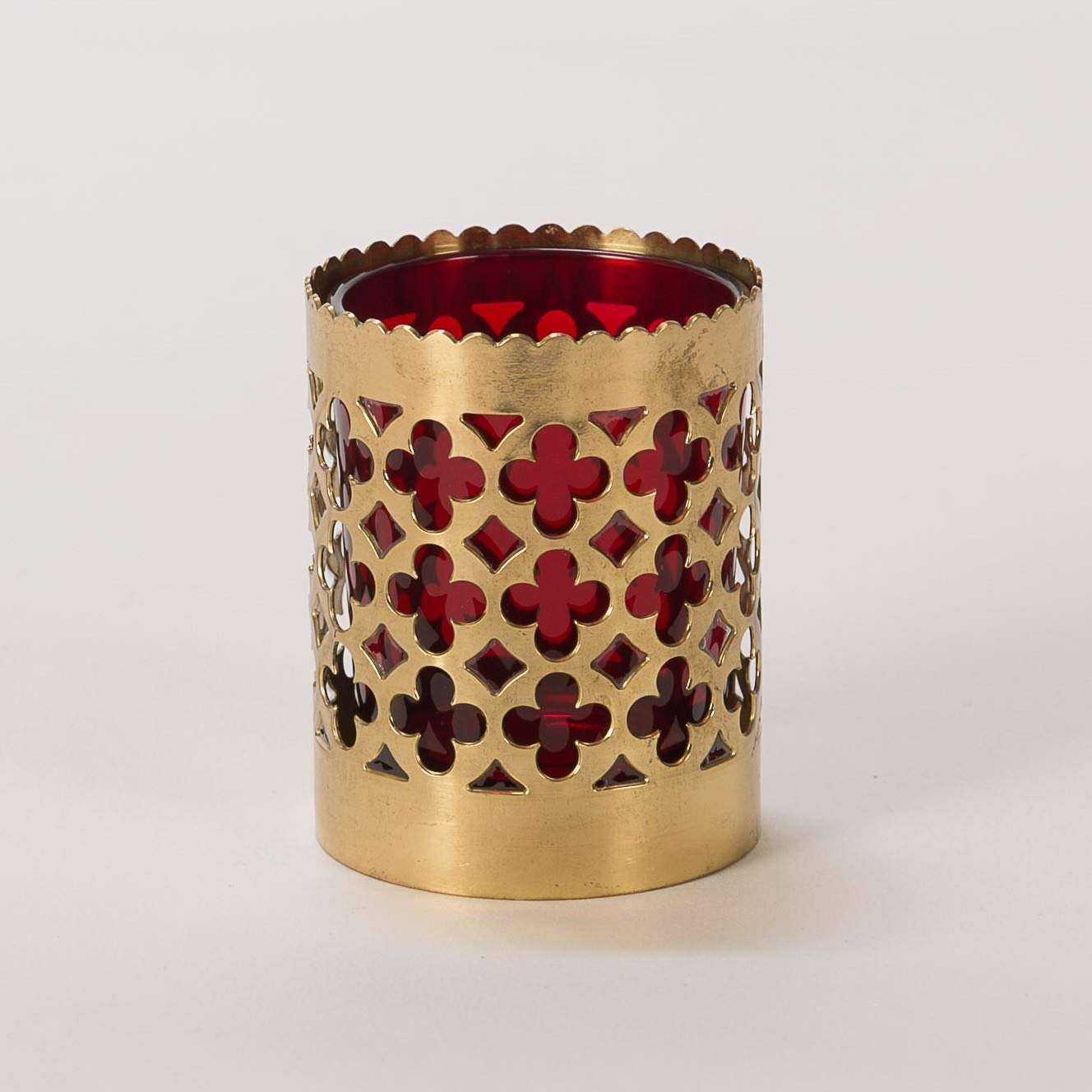 Solid Brass Traditional Church or Chapel Votive Candle with Red Glass Globe - Chalice (CCG-231) by Classical Church Goods (Image #1)