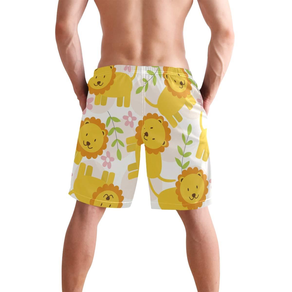 CiCily Men/'s Swim Trunks Pink Flower Yellow Lion Beach Board Shorts Swimming Short Pants Running Sports Surffing Shorts