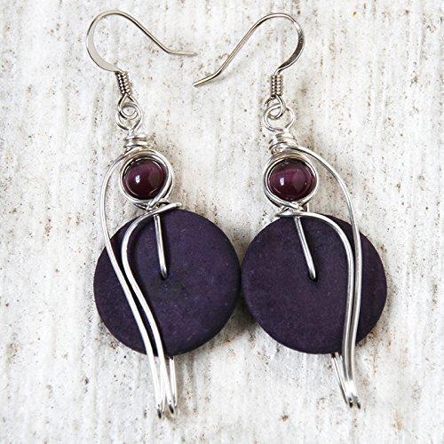 (Big Purple Dangle Earrings- Wire Wrapped Coconut Shells Jewelry)