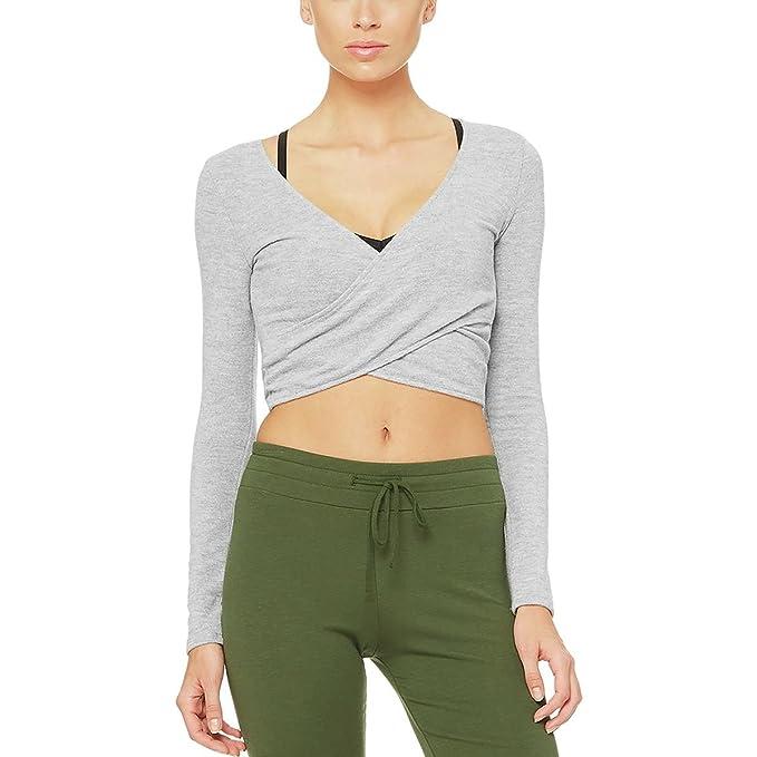 06d44aea53c5b Alo Yoga Amelia Luxe Long-Sleeve Crop Top - Women's Dove Grey Heather, M:  Amazon.ca: Clothing & Accessories
