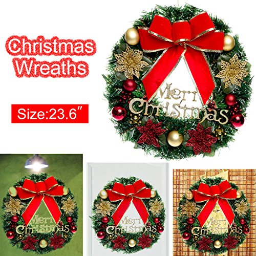 Outdoor Lighted Christmas Swag And Bow - 9