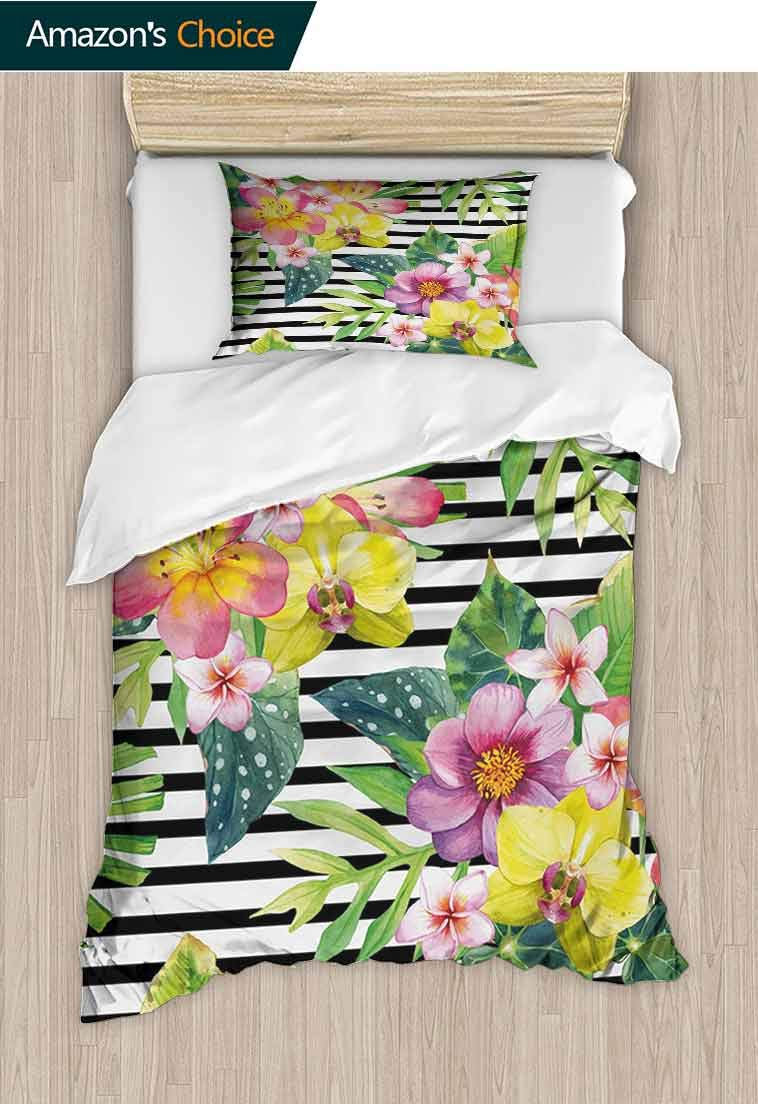 Floral Printed Quilt Cover and Pillowcase Set, Bouquet with Lily Dahlia Palm Begonia Leaves Orchid Flowers on a Striped Background, Reversible Coverlet, Bedspread, Gifts for Girls Women Multicolor