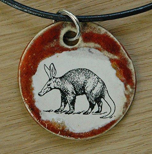 Orginal handicraft: aardvark, Orycteropus afer, Ant bear, antbear, Anteater, armadillo, Africa, termites, animal, jewellery, jewelry, handcrafted necklace, best gift, art, ceramic
