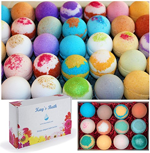 Kay's Bath Bombs Gift Set Fizzies - 12 Pack - Individually Wrapped Assorted Scents - Made in USA - Shea & Mango Butter, Essential and Fragrance Oils for Moisturizing Dry Skin - Lush Bath Salts (Sweet Pea Bath Bomb)