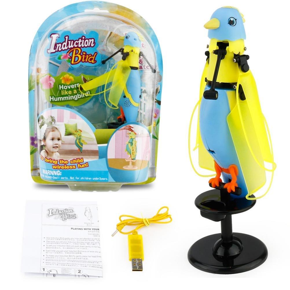Induction Of Flight Parrot,Mamum LED Barking Induction Birdie Helicopter Induction Bird Sound Flying Toy Gift (Blue)