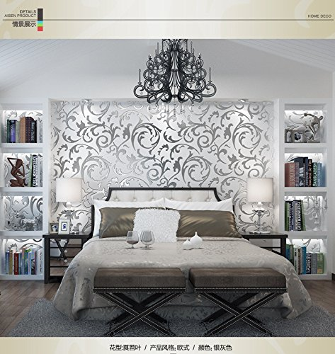 (Winner666 2019 New 1x 10M Luxury Silver 3D Damask Embossed Wallpaper Rolls Home Art Decor (Silver))