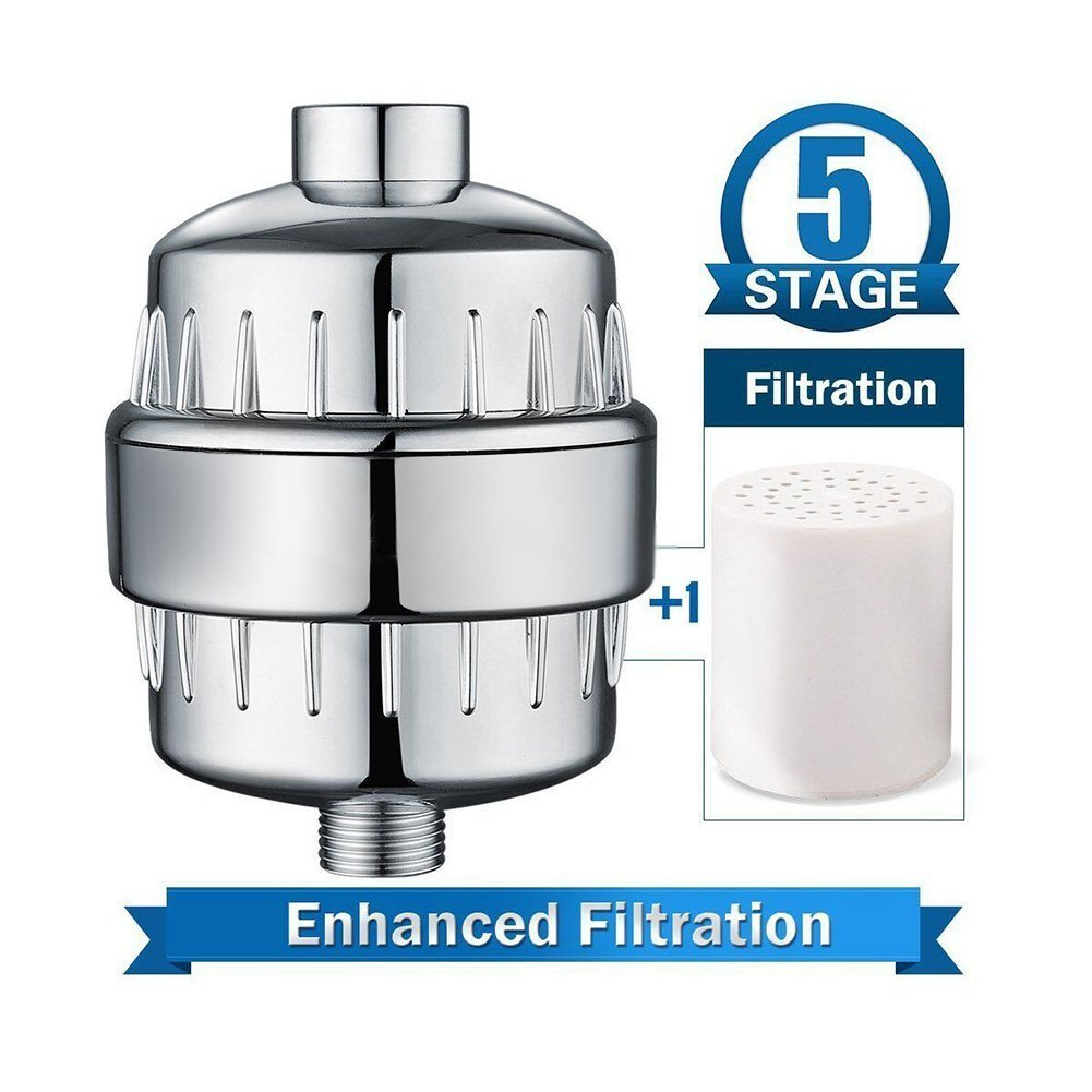 Itian 5-Stage Shower Filter with Replaceable Filter Cartridg for Removing Chlorine and Other Harmful Substances Keep Hair and Skin Healthier