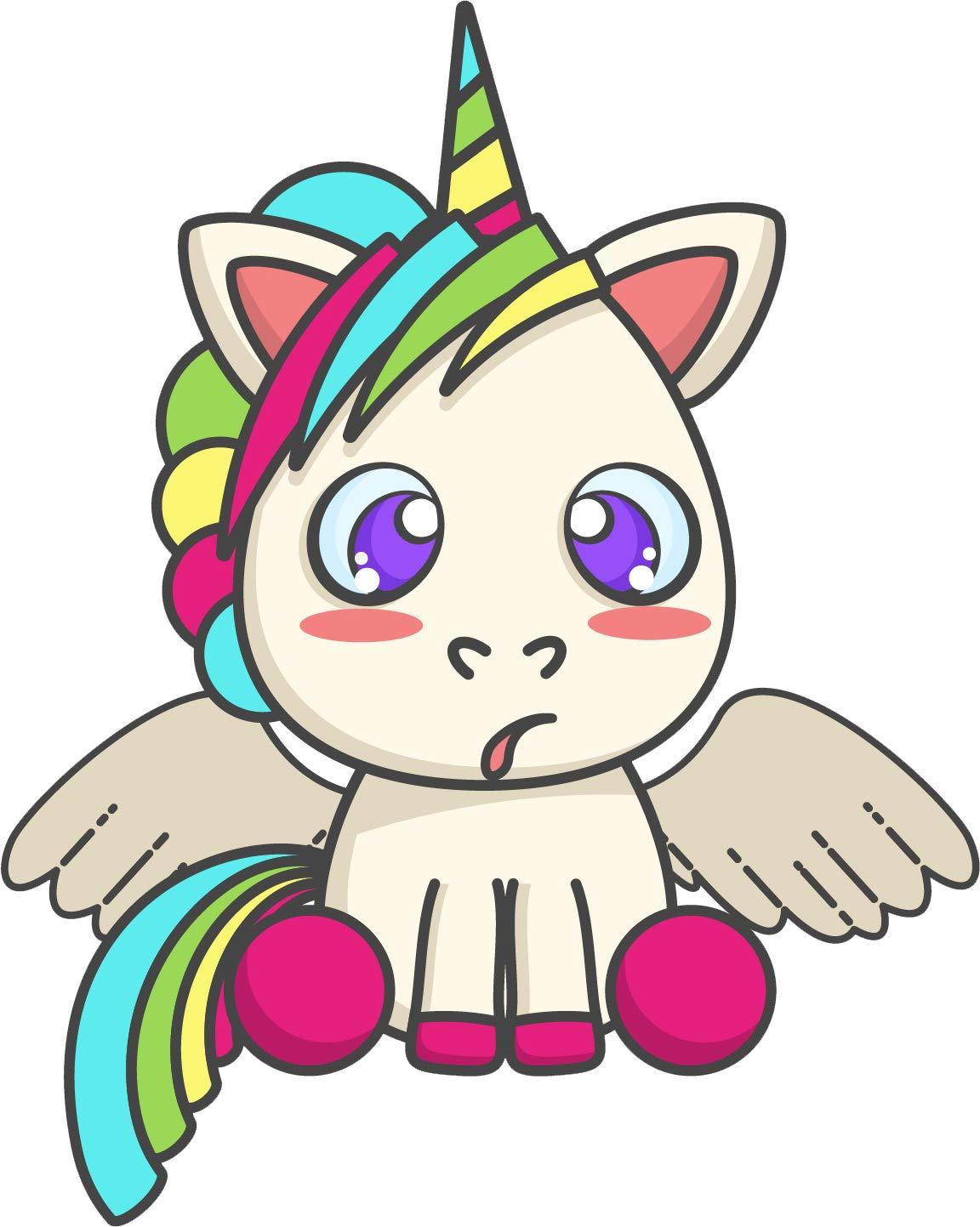 Amazon com cute silly kawaii white rainbow unicorn cartoon emoji vinyl sticker sitting smiling automotive