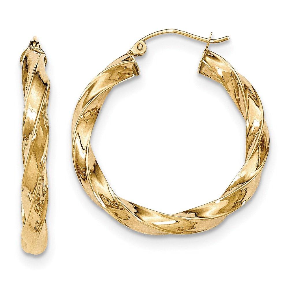 Lex /& Lu 14k Yellow Gold Light Twisted Hoop Earrings LAL82069