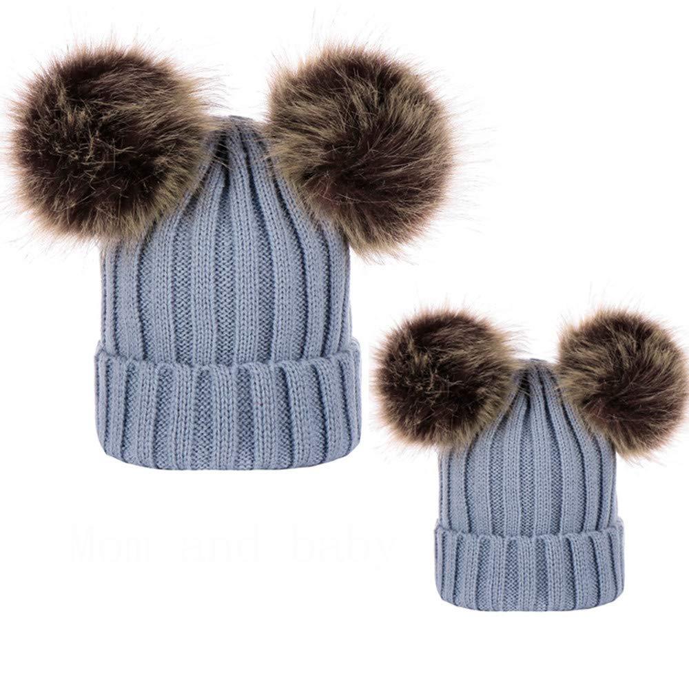 WARMSHOP Parent-Child Cap Hat, Lovely Pom Pom Pure Winter Warm Knit Beanie 2 PC Lovely Pom Pom Pure Winter Warm Knit Beanie 2 PC (Mom+Baby Hat Beige) China