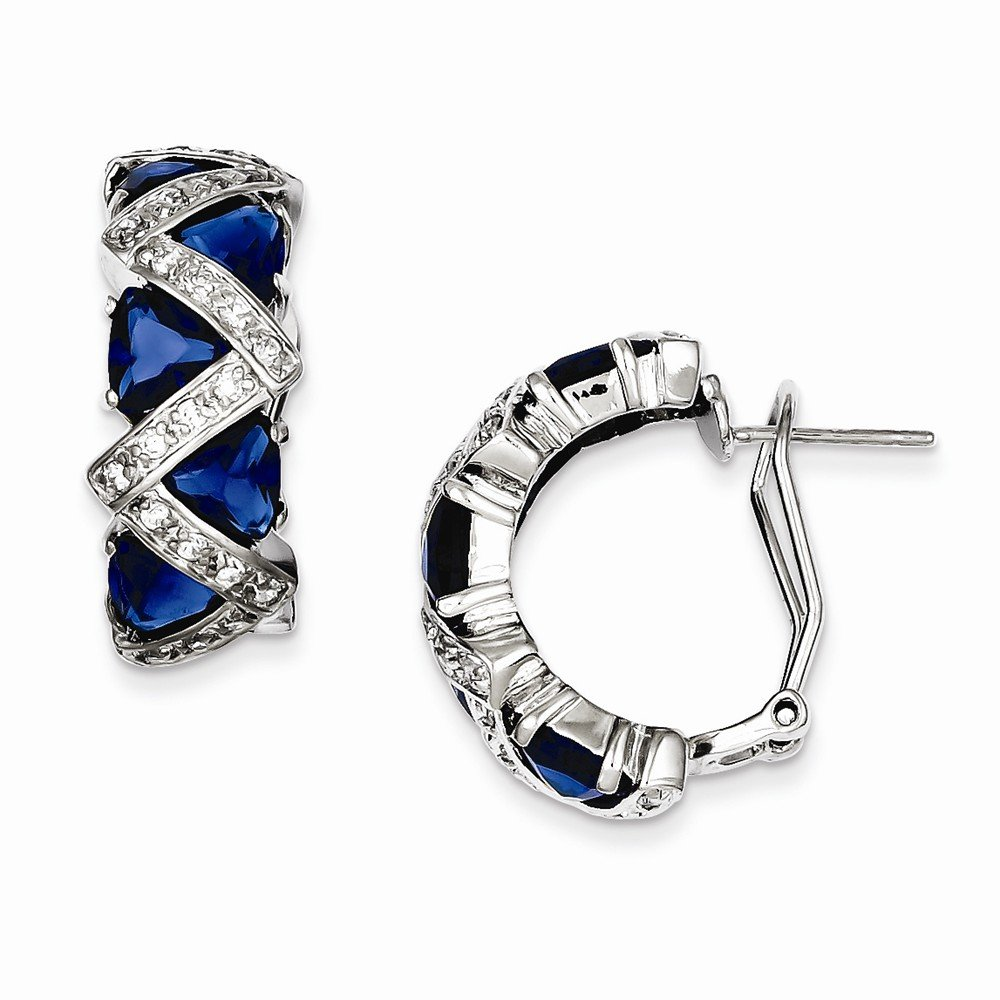 Sterling Silver Dark Blue Cz Omega Back Earrings, Best Quality Free Gift Box