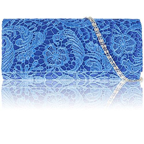 Zarla - Bolso de mano de mujer tipo clutch, de satén, con encaje floral, para fiesta, de noche, baile de graduación, boda. Azul - azul (Royal Blue)