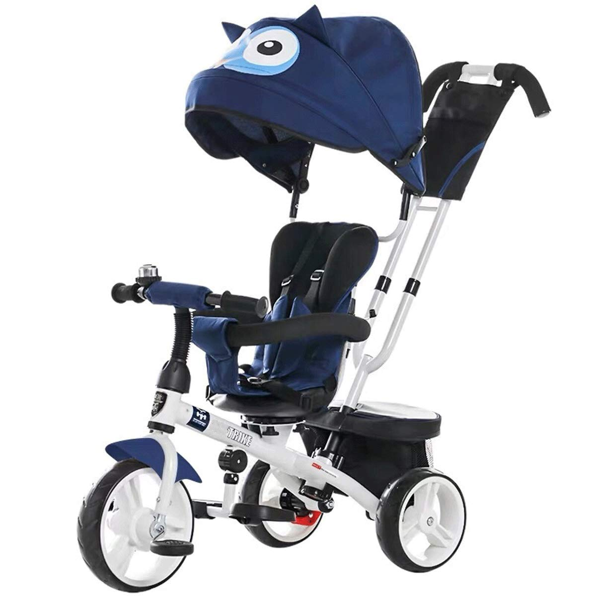 Baianju Cartoon Children's Tricycle Seat Rotation Two-Way Stroller Kids Bicycle Trolley