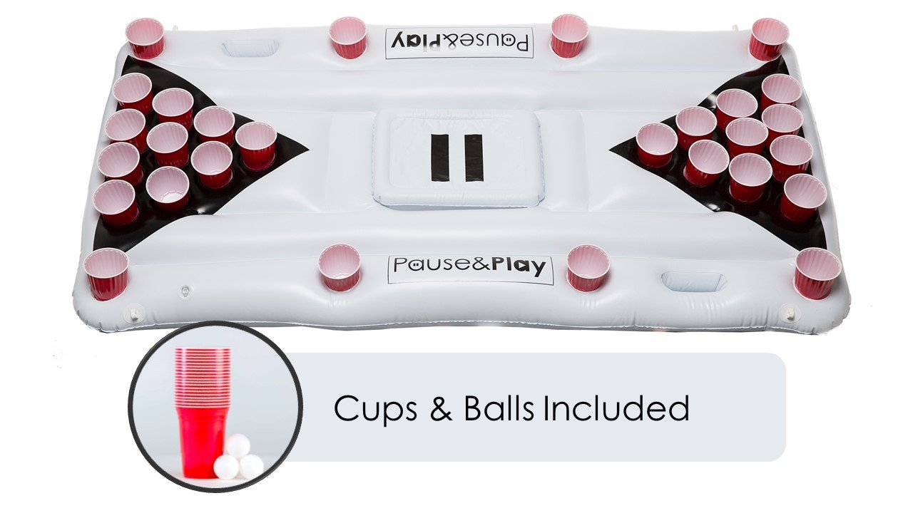 Pause&Play Aqua Pong – Premium Quality – Pool Party Game – 6ft Inflatable Floating Beer Pong Table with Cooler & Raft Lounger – 20 Cups & 6 Ping Pong Balls Included