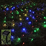 1Mx2M Outdoor Solar Net Led String Lights Christmas,eTopxizu 3.28Ftx6.56Ft 120led Solar Powered Outdoor Home Garden Path String Light Lamp Wall for Outside Garden Camping Patio Party Xmas(Multicolor)