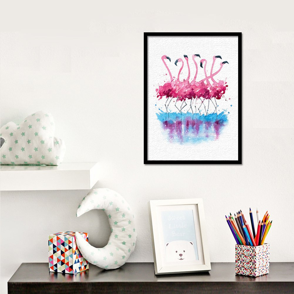 multi 21cm x 30cm canvas zhouba Creative Flamingo Watercolor auf Leinwand Kunstdruck /Ölgem/älde Home Office Wand Decor