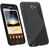 iGadgitz Dual Tone Black Durable Crystal Gel Skin (Thermoplastic Polyurethane TPU) Case Cover for Samsung Galaxy Note N7000 Android Smartphone Mobile Phone + Screen Protector