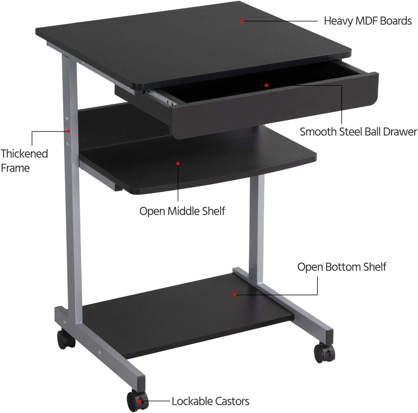 Modern Laptop Printer Cart Rolling Computer Stand Portable Office