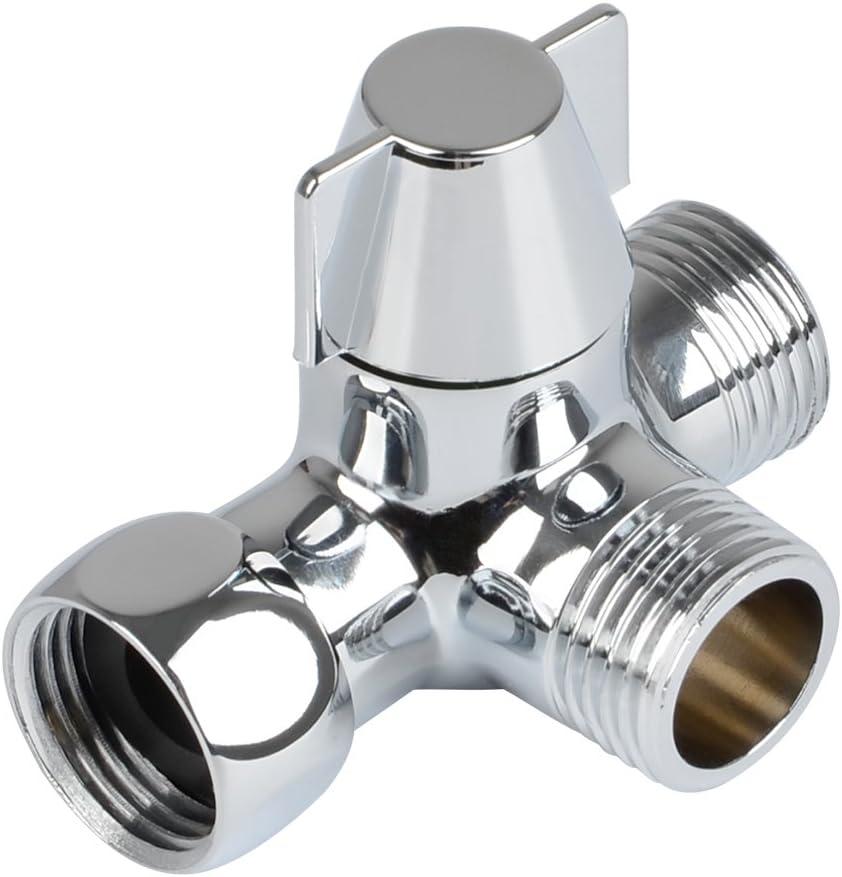 QLOUNI Desviador de 3 vías Interruptor de válvula para la ducha, latón macizo, rosca (0,5 pulg./12,7 mm), cromo pulido: Amazon.es: Bricolaje y herramientas